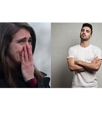 Reacciones de mujeres y hombres al rompimiento amoroso.